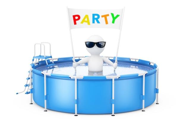 Persona 3d con l'insegna del cartellone del partito in piscina di acqua rotonda esterna portatile blu con la scaletta su un fondo bianco. rendering 3d.