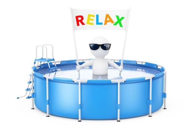 3d persona con relax cartello banner in blu portatile rotondo all'aperto piscina di acqua con scaletta su uno sfondo bianco. rendering 3d.