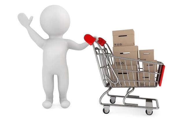 Persona 3d con carrello della spesa e scatole di carico su sfondo bianco