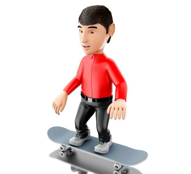 Persona 3d con uno skateboard.