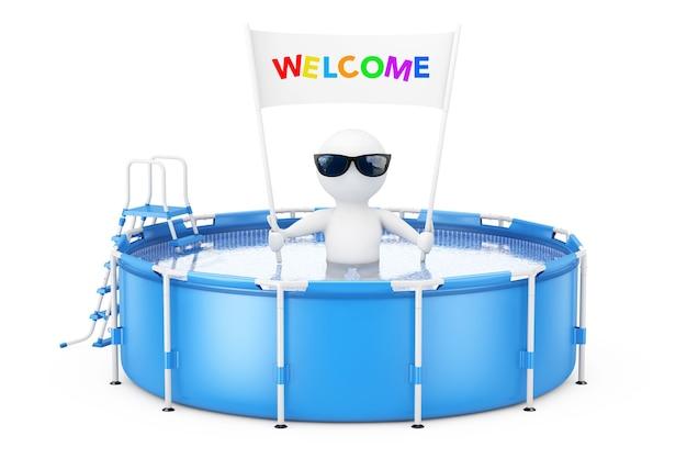 Persona 3d con l'insegna del cartello di weclome in piscina di acqua rotonda esterna portatile blu con la scaletta su un fondo bianco. rendering 3d.