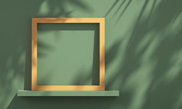Cornice 3d sullo scaffale con l'ombra dell'albero sulla parete verde e arancione, sfondo mockup prodotto estivo, illustrazione rendering 3d