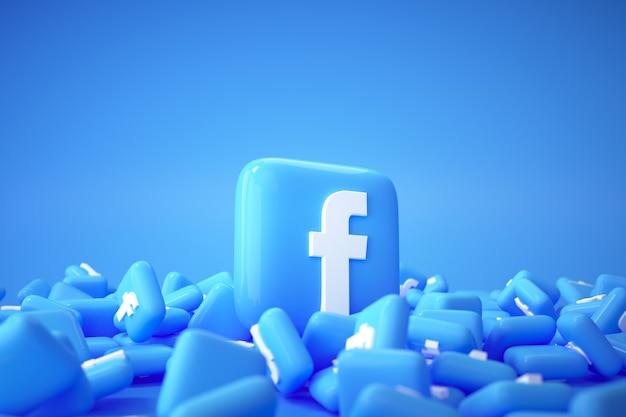 Mucchio 3d di sfondo logo facebook. facebook la famosa piattaforma di social media.