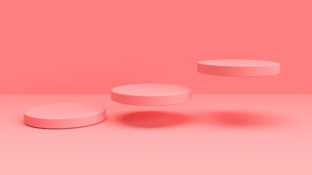 Sfondo rosa 3d con forme circolari galleggianti