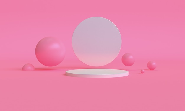 3d design in stile minimalista di colore rosa, scena podio mock up presentazione, rendering 3d sfondo astratto.