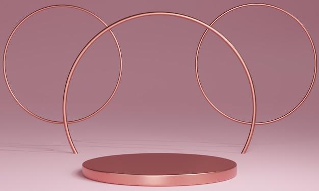 Podi minimali 3d in oro rosa, piedistalli, gradini sullo sfondo e una cornice rotonda in oro rosa. modello. rendering 3d.