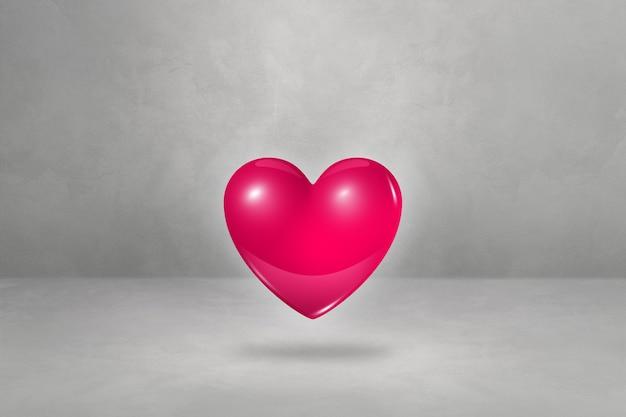 Cuore rosa 3d isolato su un fondo concreto dello studio. illustrazione 3d