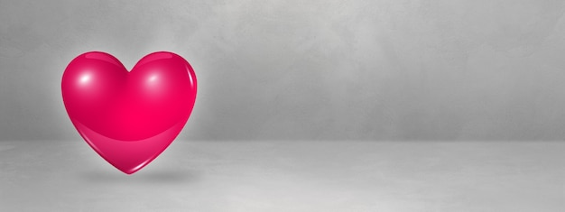 Cuore rosa 3d isolato su una bandiera concreta dello studio. illustrazione 3d