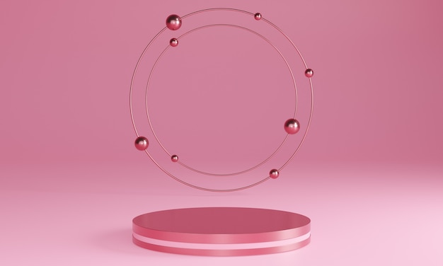 Podi minimal rosa 3d, piedistalli, gradini sullo sfondo e una cornice dorata rotonda. modello. rendering 3d.