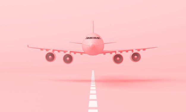 Aereo rosa 3d che decolla dalla pista di atterraggio. vista laterale frontale, stile minimal, rendering 3d