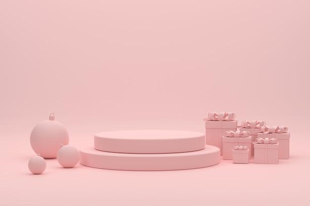 Palle di natale sul podio rosa 3d e scatole regalo per prodotti da esposizione al festival di natale