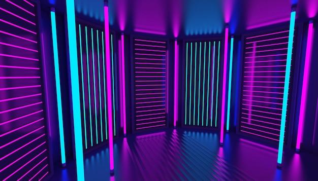 Fondo astratto al neon blu viola rosa 3d. interno del night club. stanza vuota della decorazione del podio ultravioletto. pannelli murali luminosi. rendering.