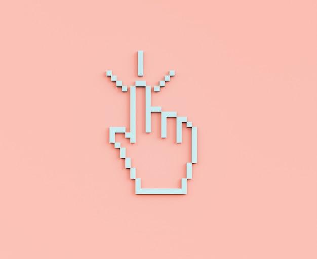 Cursore a mano pixel 3d
