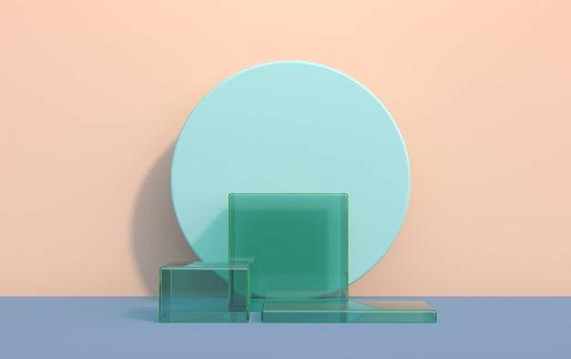 Piattaforma 3d per la dimostrazione del prodotto con cubetti di vetro nei toni del blu, rendering 3d
