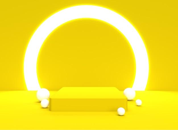 3d podio backgraund sfondo pastello morbido giallo realistico rendering sfondo piattaforma studio luce stand