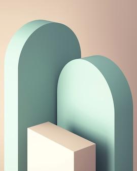 Podio 3d per mock up per la presentazione del prodotto, sfondo astratto color pastello, rendering 3d