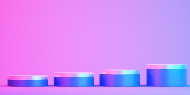 Podio 3d per mock up per la presentazione del prodotto, sfondo colorato, rendering 3d