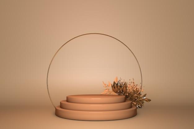 Podio 3d, piedistallo rotondo arco d'oro su sfondo beige pastello con fiore. fresca bellezza o vibrazioni primaverili con copia spazio.