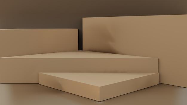 Podio 3d per mostrare prodotto con colore marrone