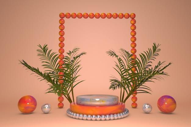 Podio 3d, piedistallo tropicale su sfondo arancione con foglia di palma naturale verde. vetrina espositiva per prodotti di bellezza, promozione cosmetica.