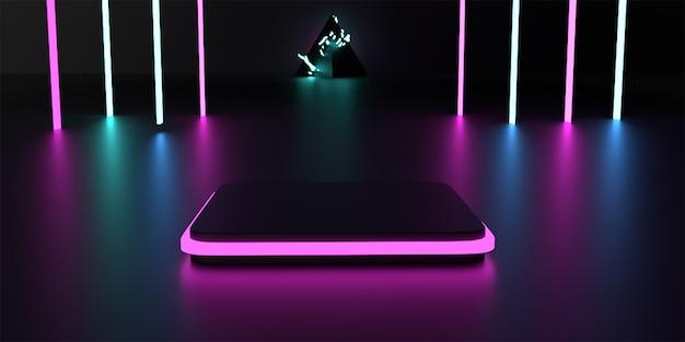 Podio 3d con luce al neon in camera oscura reso