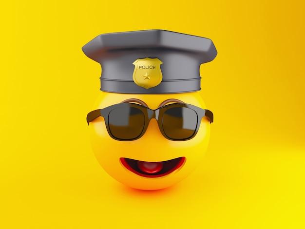 Icone di emoji del poliziotto 3d con il cappuccio della polizia.