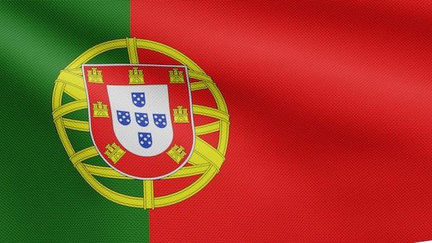 3d, bandiera portoghese che sventola nel vento. primo piano del soffiaggio del banner del portogallo, seta morbida e liscia. fondo del guardiamarina di struttura del tessuto del panno.