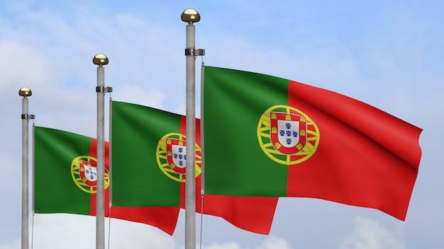 3d, bandiera portoghese che ondeggia sul vento con cielo blu e nuvole. primo piano del soffiaggio del banner del portogallo, seta morbida e liscia. fondo del guardiamarina di struttura del tessuto del panno.