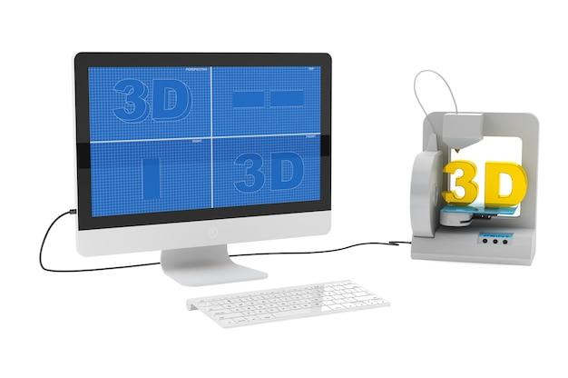 Stampante 3d collegata al computer desktop su sfondo bianco