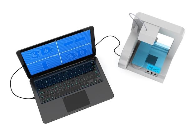 Stampante 3d collegata al laptop su sfondo bianco