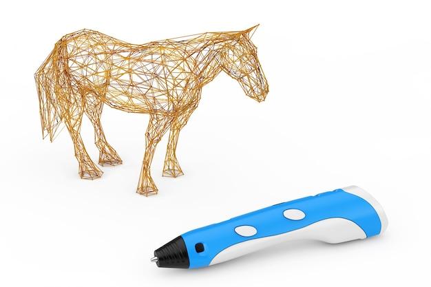 3d stampa penna stampa astratta cavallo su uno sfondo bianco. rendering 3d Foto Premium