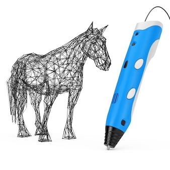 3d stampa penna stampa astratta cavallo su uno sfondo bianco. rendering 3d