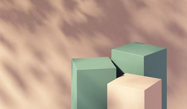 Visualizzazione del podio del prodotto 3d e sfondo dell'ombra dell'albero, sfondo del modello del prodotto estivo, illustrazione di rendering 3d