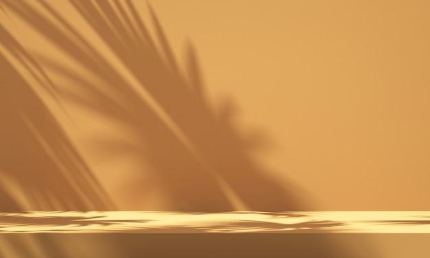 Display podio del prodotto 3d con sfondo arancione e ombra dell'albero, sfondo mockup prodotto estivo, illustrazione rendering 3d
