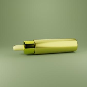 3d prodotto skincare illustrazione oro minimalista moderno