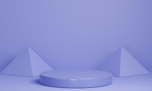 Podi minimal 3d viola, piedistalli, gradini su sfondo viola e una decorazione a triangolo. modello. rendering 3d.