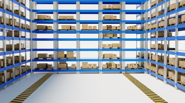Rack 3d in magazzino su sfondo bianco, rendering illustrazione 3d