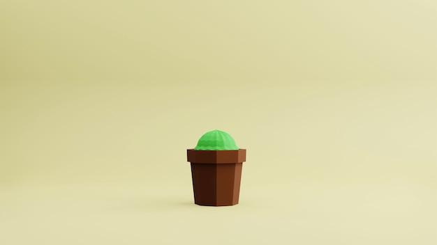 3d rander cactus basso poligono