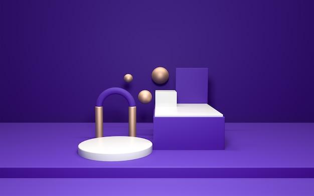 3d realistico del piedistallo sulla parete viola con elementi in oro