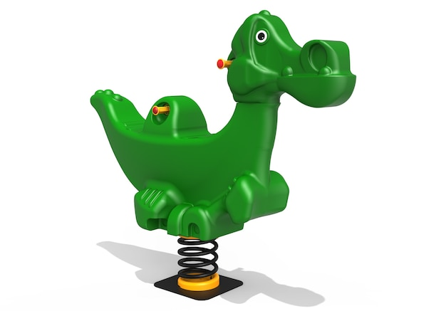 Springer del dinosauro del parco giochi realistico 3d per i bambini isolati su fondo bianco