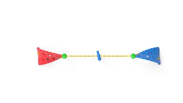 3d parco giochi realistico parco giochi doppia corda ritorta attrezzatura da arrampicata isolato su sfondo bianco