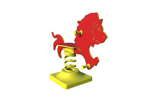 Springer del leone del parco giochi realistico 3d per i bambini isolati su fondo bianco