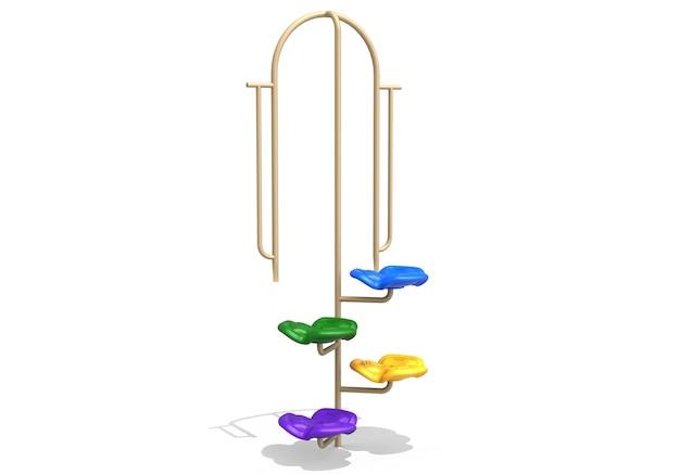 3d parco giochi realistico piccolo fungo attrezzatura da arrampicata isolato su sfondo bianco