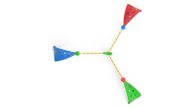 3d parco giochi realistico parco giochi triplo ritorto attrezzatura da arrampicata isolata su sfondo bianco