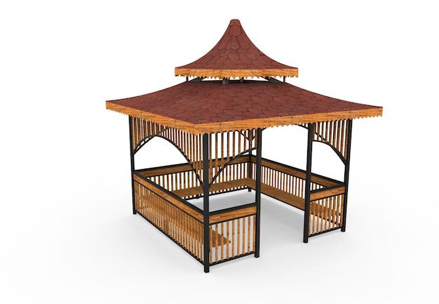 3d realistico una camelia quadrata con tetto in legno di panca da giardino in japon su sfondo bianco