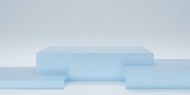 Podio o piedistallo rettangolare 3d con sala studio vuota blu, sfondo del prodotto minimo, modello mock up per la visualizzazione, forma geometrica del rettangolo