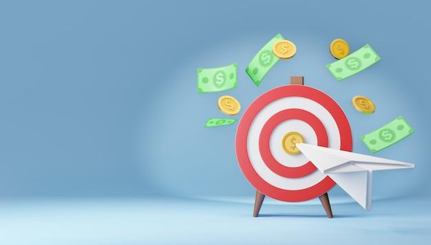 Obiettivo rosso di tiro con l'arco 3d con la banconota dell'aereo di carta e la moneta dei soldi concetto di mercato. rendering dell'illustrazione 3d.