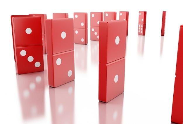 Mattonelle rosse di domino 3d che cadono in una fila