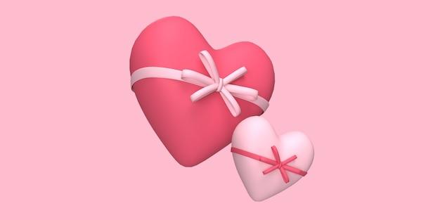 3d amore cuore rosso con nastri con sfondo di colore rosa reso per il concetto di romanticismo o matrimonio reso
