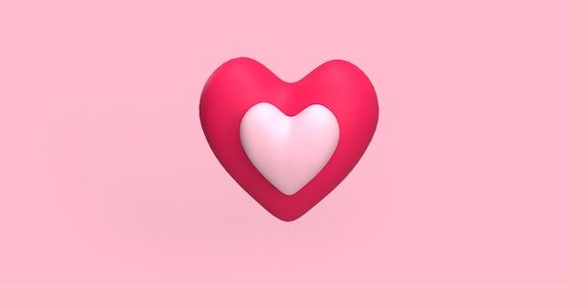 Cuore rosso 3d con cuore piccolo con colore rosa su sfondo medio reso